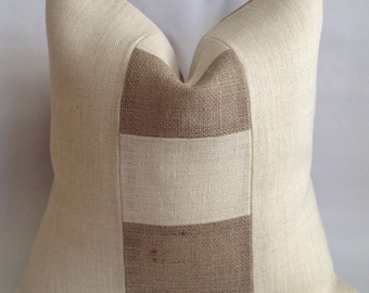 Block Style Two Tone Burlap Pillow Cover