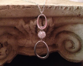 Sterling Silver Necklace, tear drop pendant and Swarovski crystal.