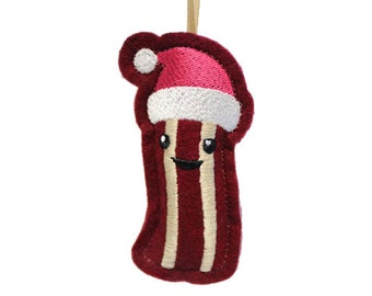 Bacon Ornament, Embroidered Plush Novelty