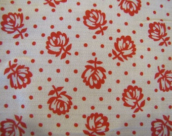 1950's Red and White Dotted Floral Fabric, Cotton, Quilters Weight Fabric, Floral, Flower, Red and White, 1950's
