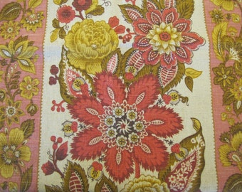 1960's Country Floral Fabric, Country, Floral, Flower, Folk, Decorator Weight, Curtain Fabric, Cotton, Pink, Gold