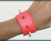 Red Vegan Leather Cuff with Spikes, Unisex, Bracelets, Cynt D B