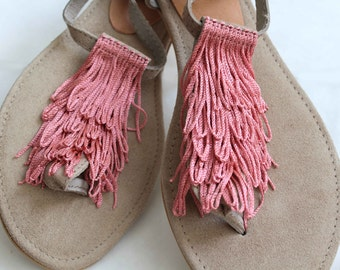 Greek Leather Sandals. Dusty Pink Flat Shoes. Wedding Sandals. Bridesmaids Sandals