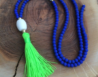 Long Beaded Necklace- Neon lime necklace - Cobalt blue beaded necklace - Lime tassel necklace