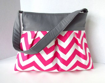 Chevron Purse Pleated Diaper Bag Pink with Gray or choose your own Zipper Pocket