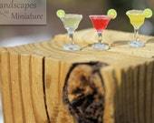 Miniature Handcrafted STRAWBERRY or  MANGO MARGARITA with Lime Slice  for your Beach Scene or Wedding Topper - by Landscapes In Miniature