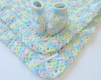 Baby Blanket And Booties Set Infant Afghan With Slippers For Boy Or Girl Pastel Green Blue Yellow Pink White Newborn Shower Gift