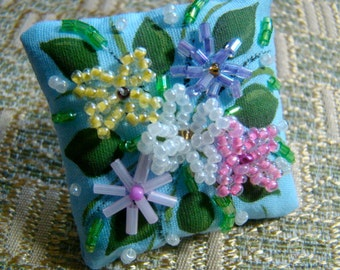 Dollhouse Miniature Pillow - Flowers on Blue