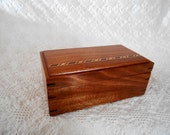 Wood Keepsake Box - Jewelry Box - A Mahogany, Cherry and Walnut Jewelry Box (Right leaning wood inlay)