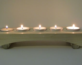 hand made tea light  holder for 5 tea lights made from pine wood. Yoga, Ohm, meditation, Asian, recycled, zen