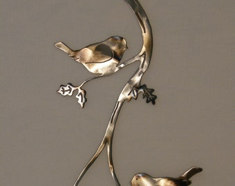 Chickadee metal wall art sculpture