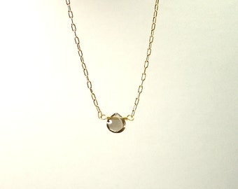 Tiny teardrop quartz necklace - smoky crystal - delicate solitaire pendant - illusy