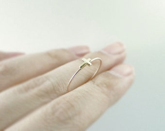 Gold cross ring - sideways cross - thin stack ring - delicate dainty illusy