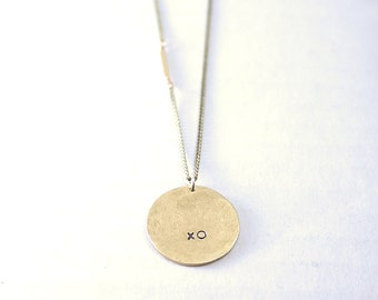 Personalized circle pendant necklace - large brass charm - long layered necklace - XO