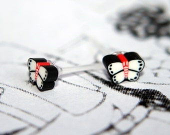 Tiny Polymer Clay Butterfly Stud Earrings - Perfect for kawaii lovers & insect addicts!