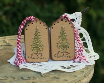 Christmas Gift Tags - Set of 10 Holiday Christmas Tree gift tags with twine - Merry Christmas