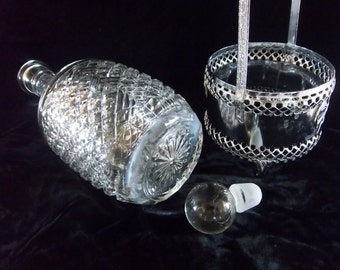 England Made Crystal Carafe Decanter with Silver Carrying Caddy Holder - Mid Century Vintage Home Decor