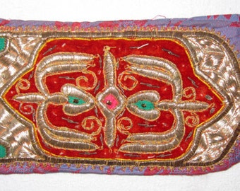Vintage Uzbek Hand Gold Embroidery Head Band Peshonaband Bukhara