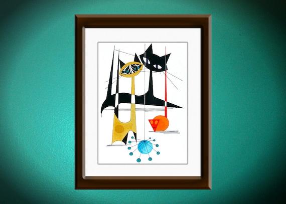 Atomic Mid Century Modern Cat Print Retro Art Eames Style