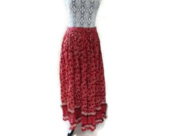 Red Ethnic Skirt India Maxi Long dress skirt Vintage XL L