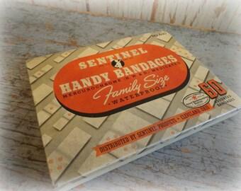 vintage sentinel handy bandages family size advertising tin
