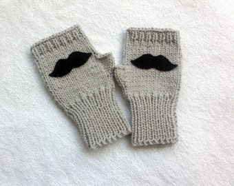 Gift for kids, fingerless gloves with mustaches, kids gloves, fingerless gloves, gift for babies, gift for dad, babies fashion