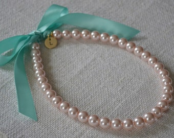 Victoria {Little Girl}: Beautiful Flower Girl Pearl Necklace with Initial Charm - Baby Pink Pearls with Aqua / Robbin Egg Blue Ribbon Tie