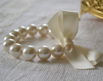 Lillian: Large Ivory Pearl Bracelet with Ivory Satin Ribbon Bow - Bridal, Bridesmaids, or Flower Girl