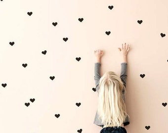 Hearts Wall Stickers | 100 Hearts 5 x 5cm // 2 x 2 inches each | Removeable wall vinyl