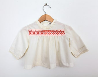 Vintage Baby Shirt in White with Red Embroidered Chest