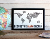 Fingerprint World Map • Travel Poster Print • Leave Your Mark On The World Print • Wanderlust, Travel, Adventures, World Map Poster