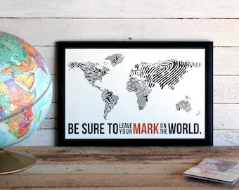 Fingerprint World Map • Travel Poster Print • Leave Your Mark On The World Print • Wanderlust, Travel, Adventures, World Map Poster