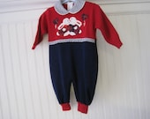 Vintage one piece red and navy blue knit baby outfit, bunnies, 3-6 months