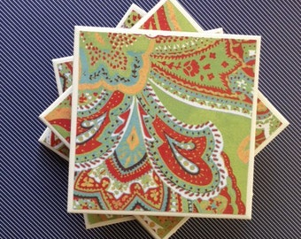 Coasters Green, Orange, Blue, Red, Yellow, and White, Paisley Print, Felt-Backed, Tile, Set of Four