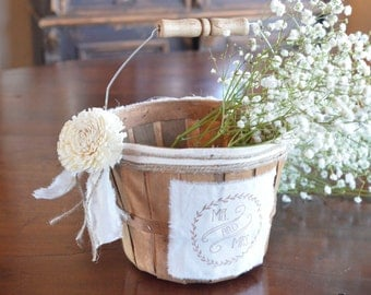 Rustic Mr and Mrs  Flower Girl Basket by Burlap and Linen Co