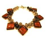 925 Sterling Silver Diamond Teardrop Swarovski Crystal Rondelle Grey Brown Glass Beaded Bracelet