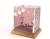 Pink Stained Glass Candle Holder - Wooden Base - Votive or Tea Light - Handmade