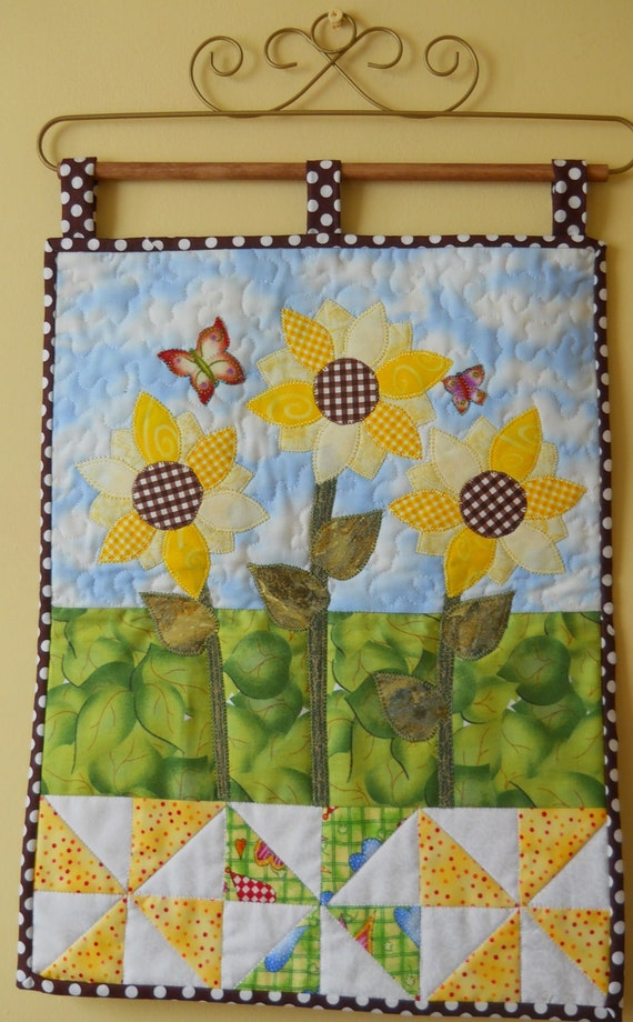 Spring Wallhanging Sunflower Patchwork Quilted Wallhanging