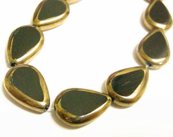 1 strand 20pc copper plated teardrop glass beads-7700
