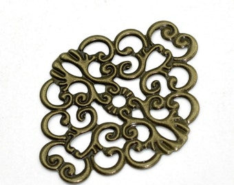 12pc antique bronze 37x10mm metal filigree center piece/wraps-7311