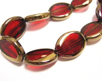 12pc 15x12mm copper plated red flat oval glass beads-9124