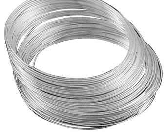 50 Circles Nickel look Steel Memory Wire 5.5cm 1m thickness-9405