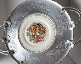 Limoges Aluminum Serving Tray Aluminum and China, Large Platter Imperial Victorian, Faberware