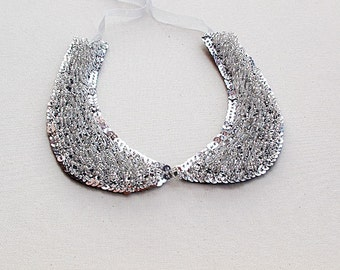 Sparkly Collar Necklace-Peter Pan Collar Necklace, for Women, Silver Gray Color, Beads and Rhinestone, Embroidery