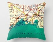 MONTPELLIER FRANCE Map Pillow | NIMES Vintage French Art Decor | Decorative Throw Pillow Cover | Vintage Europe  | World Wanderlust Travel