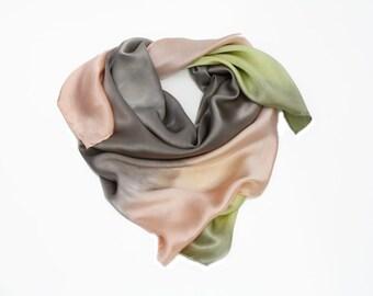 silk scarf - Spring Pastel -  light grey, light peach, light yellow silk scarf.
