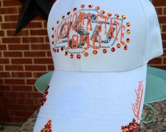 Oklahoma State Distressed Baseball Style, Mesh Back, Trucker Hat... EXTRA Bling/Rhinestones