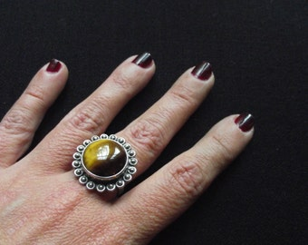 Tiger Eye Ring Sterling Silver Ring .US Size 7.5 . Ethnic Gemstone Jewlery