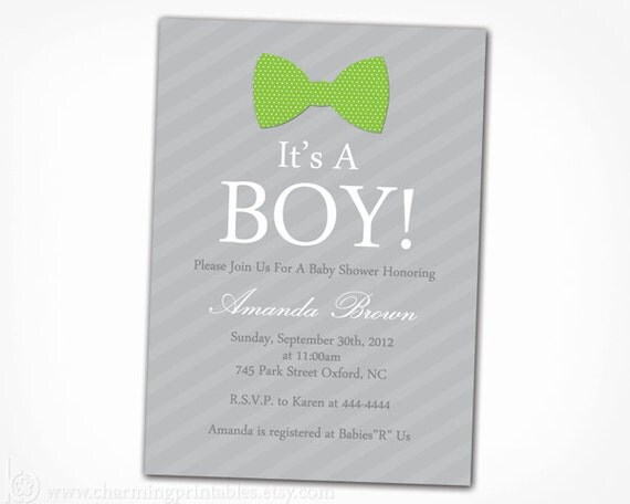 bow tie baby boy shower invitation boy shower invite printable diy
