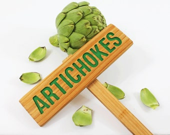 ARTICHOKES Garden Sign, Painted & Oil Sealed Cedar Wood: Hand Routed, Vegetable Plant Garden Marker, Custom Garden Sign, Personalized Marker